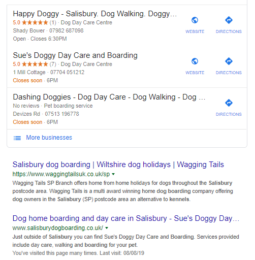 Day care Google snippet